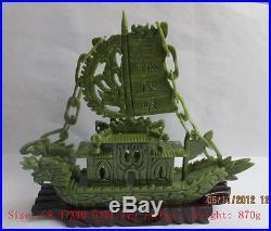 Chinese manual sculpture of southern Taiwan jade dragon boat, sailing NR