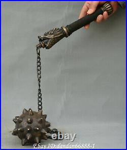 Chinese old Bronze weapons dragon head hand shank hammer Morning Star Statue