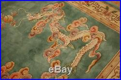 Cir 1960's MINT ART DECO CHINESE DRAGON DESIGN RUG 6x9 SOOTHING SOFT WOOL