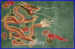 Cir 1960's MINT ART DECO CHINESE DRAGON DESIGN RUG 8.1x11.2 ROOM SIZE SOFT WOOL