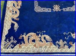 Circa 1960's MINT ART DECO CHINESE DRAGON DESIGN Navy RUG 9x12 ROOM SIZE