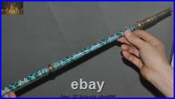 Collect Chinese Ancient Bronze Cloisonne Dragon Tobacco pouch pipe Smoking Tools