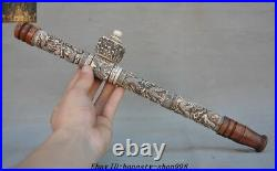 Collect Old Chinese dynasty Carved Dragon Totem Tobacco pouch pipe Smoking Tools