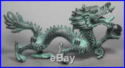 Collection Chinese Folk Old Bronze Handwork Dragon Statue