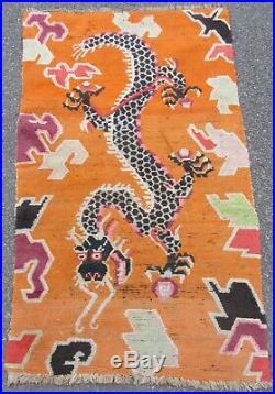 Collectors Antique Chinese Tibetan Khaden Rug (sleeping Rug) Dragon Motif
