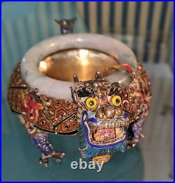 Colorful Enamel Chinese Silver with white/green jade ring DRAGON BOWL
