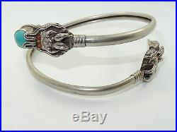 EARLY 20c. CHINESE STERLING CORAL & TURQUOISE DOUBLE DRAGON WRAP CUFF BRACELET