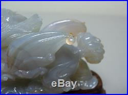 ELABORATE 19TH C. CHINESE HAND CARVED NATURAL AGATE DRAGON with FLAMING PEARL