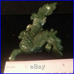 Early 20 th Century Chinese Carved Genuine Green Jade Dragon Statue with Stand