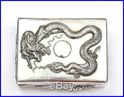 Early 20C Chinese Export Sterling Silver Repousse Dragon Box Marked 304 Gram