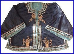 Elaborate Antique Chinese Heavy Gold Thread Silk Dragon Kimono Jacket