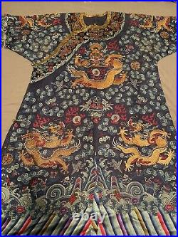 Exceptional Antique Chinese Blue Silk Dragon Robe Textile with Great Detail