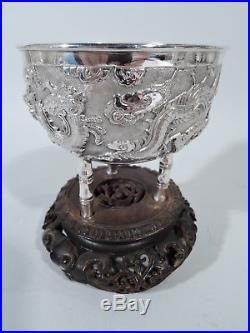 Export Bowl China Trade Asian Antique Bamboo Dragon Chinese Silver Rosewood