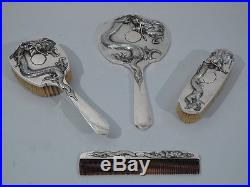Export Vanity Set China Trade Antique Dragon Chinese Silver