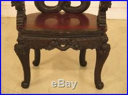 F43336C Antique Highly Carved Chinese Dragon Arm Chair