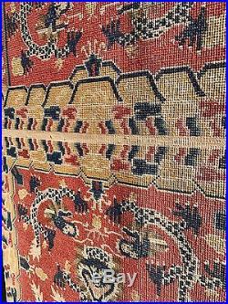Fabulous Antique Chinese Throne / Seat Mat Dragon Rug Carpet Pristine