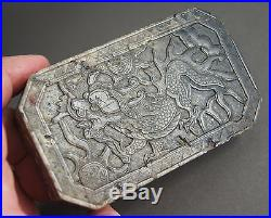 FINE ANTIQUE CHINESE QING CARVED SOAPSTONE PAPERWEIGHT PANEL With DRAGON ETC NR