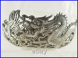 FINE PAIR ANTIQUE CHINESE SOLID SILVER DRAGON BOWLS WANG HING 161 g