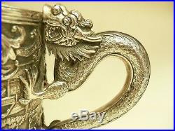 Fab Rare Chinese Solid Silver Large Dragon Handle Tankard Mug Lee Ching C1890