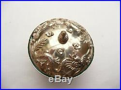 Fab Rare Signed Antique Chinese Export Solid Silver & Enamel Dragon Cruet Set