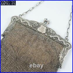 Fabulous Antique Chinese Silver Mesh Purse Bag Dragon Clasp Circa 1900
