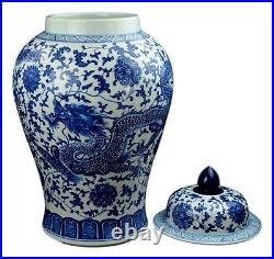 Festcool 24 Classic Blue White Dragon Porcelain Ceramic Temple Ginger Jar Va