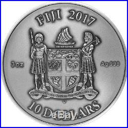 Fiji 2017 10$ MANDALA ART III Chinese Dragon. 999 Silver 3oz Antique w Ruby