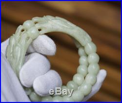 Collection Chinese antique bangle hand-carved old jade dragon bracelet  68mm