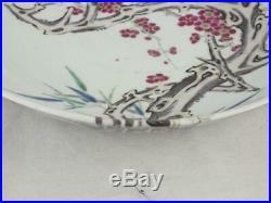 Fine 19th C Chinese Kangxi And Dragons Marks Flowering Prunus Saucer Dish
