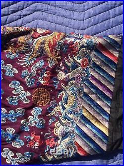 Fine Antique Chinese Embroidered Silk Robe With Several Dragons / Gold Thread