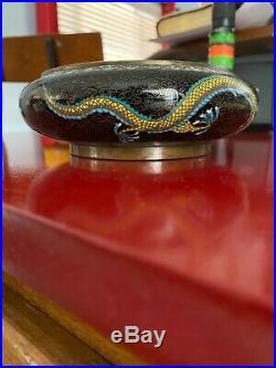 Fine Antique Chinese Royal Dragons Black Cloisonne Bronze Bowl 5.5 x 1.75