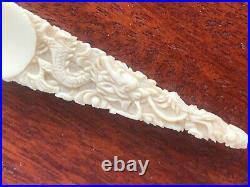Fine Asian Chinese Bone (bovine) Hand Carved Shoe Horn Dargon 19 Century