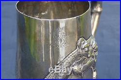 Fine Quality Antique Chinese 19th C Solid Silver Dragon Tankard Cup 107 gram