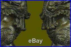 Folk Classic Bronze carved Feng Shui Guardian Fu Foo Dog Lion Pair Medium statue