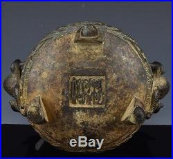 GREAT ANTIQUE CHINESE ARCHAIC FU LION DRAGON FIGURAL CENSER VASE w OLD PHOTO