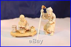 GROUP OF TWO-NETSUKE CARVED