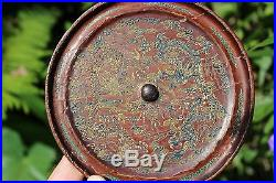 Genuine Chinese bronze lacquered mirror 2 Dragons design, Qing Dynasty