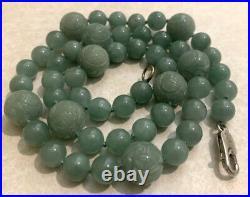 Hand Carved Jade Dragon Bead Necklace Vintage Estate Jewelry Shou