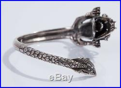 Heavy Antique Vintage Sterling Silver Chinese Dragon Bangle