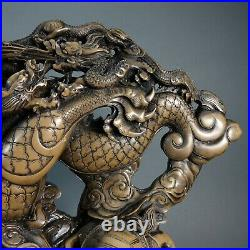 Huge Vintage Chinese Asian Dragon Sculpture 47 lbs. 17.5 Tall by 21 wide