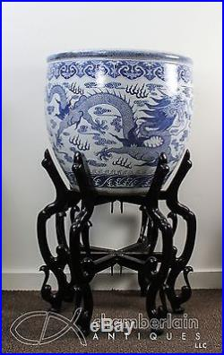 IMPORTANT HUGE ANTIQUE CHINESE BLUE + WHITE PORCELAIN FISH BOWL PLANTER W DRAGON