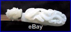 JADE White Dragon BUCKLE Fine ANTIQUE Chinese