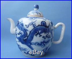 Kangxi Mark 19th Century Antique Chinese Blue And White Dragon Teapot