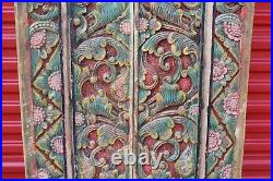 LARGE Antique Pair Chinese Polychrome Wood Doors Dragon Engraved Patterns
