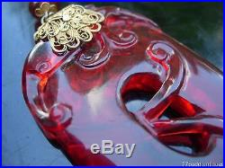 Lovely Antique Chinese Ruby Red Glass Dragon And Gilt Silver Pendnat Necklace