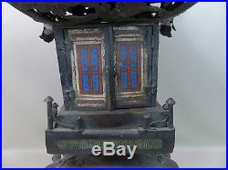 Large Antique 19th C Chinese Bronze Champleve Lantern Pagoda Dragons 29 inches