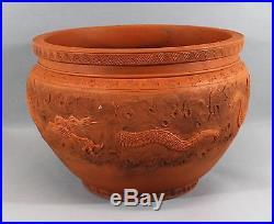 Large Antique 20thC Chinese Terracotta Red Foo Dragon Jardinire Planter Pot NR