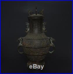 Large Antique Chinese Bronze Vessel Pot Jar Marked Dragon-33cm h36