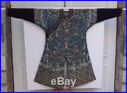 Large Antique Chinese Court Embroidered Kesi Textile Silk Dragons Robe 19th Qing