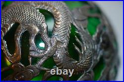 Large Antique Chinese Green Glass & Sterling Dragon Decanter Bottle
